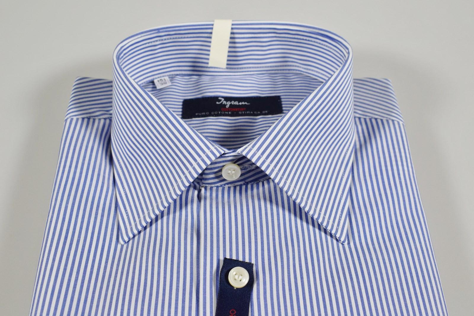 huge selection of 1ce80 3ccf5 Dettagli su Camicia Ingram a righe Azzurro vestibilità regolare Cotone No  Stiro Taglia 42 L